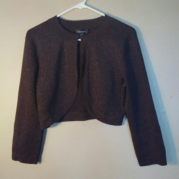 Spense Sweaters - Spense Metallic Brown Cropped Silk Cardigan